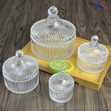 Custom Logo Christmas Gift Mongolian Yurt Crystal Glass Candy Sugar Bowl with Lid