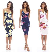 Women's Pakistani Party Wear Dresses Floral Print Plunge String Strap Midi Dress Pictures Floral Formal Dresses Women