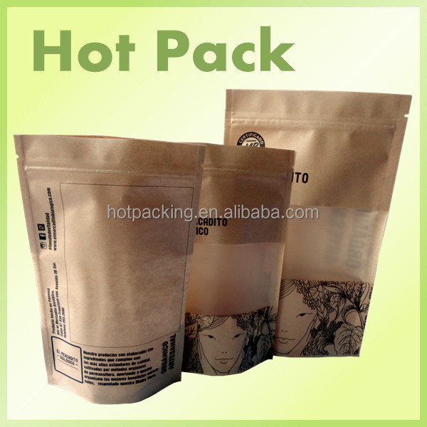 foil lined stand up kraft paper bags / laminated material printed fresh bread bag