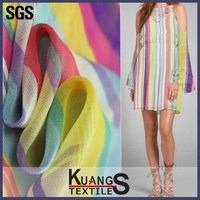 digital printing wholesale rainbow colored chiffon fabric