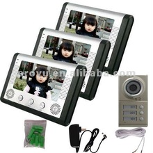 "7"" CMOS Video Door Phone Kit with 3 Monitors and 1 IR Camera For 3 Family intercommunication between indoor unit and outdoor uni"