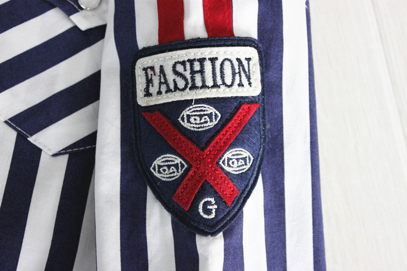 The most popular customized boys fancy stripe shirts
