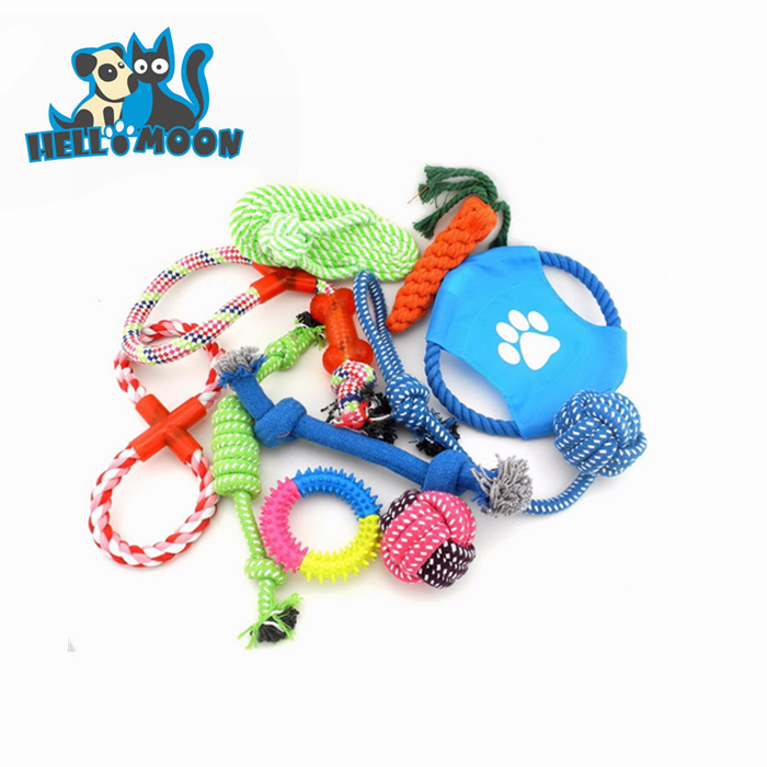Custom Professional Cheap Durable Organzic Soft Zanies Rope Pet Dog Chew Activity Toys 10 Set Pack