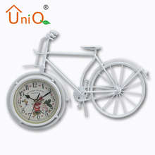 Unique Handmade Vintage Bicycle Clock Bike Mute Metal Table Decor Clock