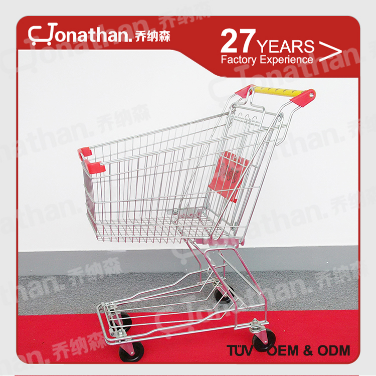 60L wholesale metal wheels supermarket shopping trolley cart