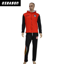 wholesale custom white and blue tracksuit material with sublimation pattern and logo