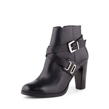 Fashion style genuine leather buckle strap high heel lady boot