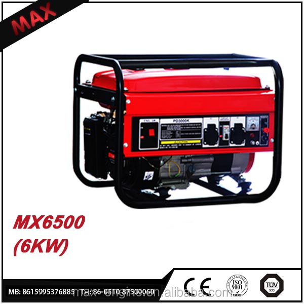 Small Domestic 6 KW Gasoline Generator Manual 6500 With OHV Engine