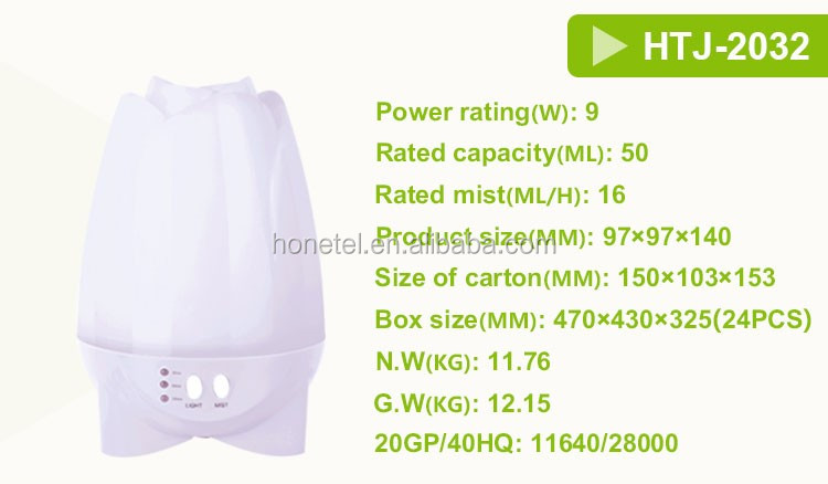 2018 NEW ARRIVAL HTJ-2032 Mini Portable Home 7 Colors LED Rainbow Essential Oil Aroma Diffuser
