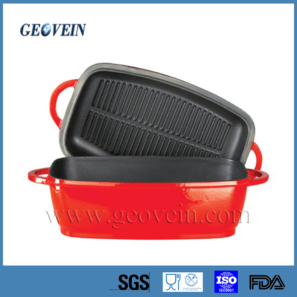 Gas Grill Covered Cast Iron Rectangular Roaster With Enamel Coating