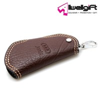 souvenir embossed car brand logo genuine leather wallet keychain