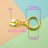 Golden Round Metal Zipper Slider And