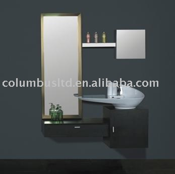 bathroom furniture with basin, mirror and cupboard
