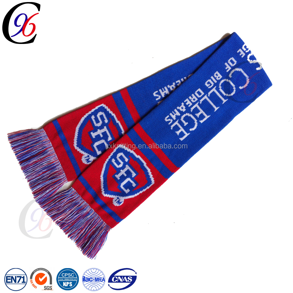 Chengxing wholesale new style made sport cheap popular fabric crochet winter custom logo soccer football fan knitted men scarf