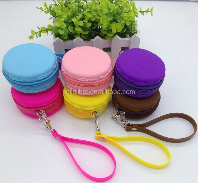 BLC-031 2016 New Arrival Silicone Macaron Coin Purse Gift Bag With String Silicone Zipper Bag