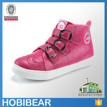 HOBIBEAR comfort buckle strap denim flat fashion child high top casual shoes