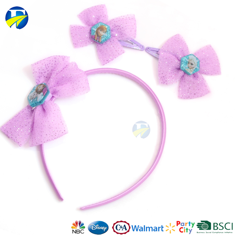 FJ brand cartoon kids hair accessories set hair bows beautiful hair bands for baby girl
