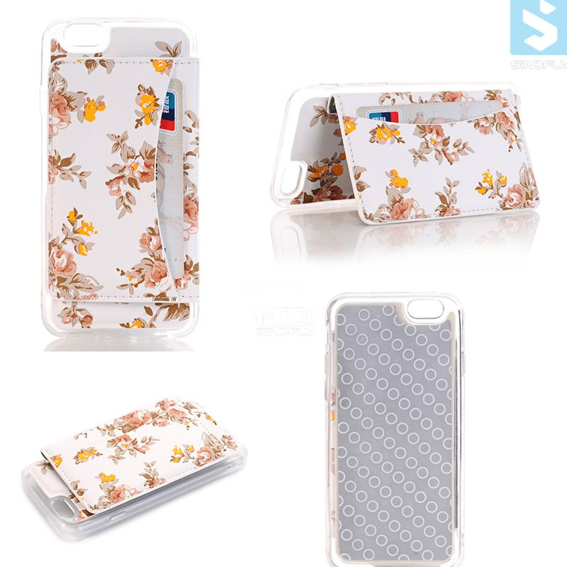 2016 Flower PU Leather TPU Back Stand Phone Case for <strong>APPLE</strong> 7