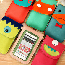 Q056 Cartoon halter PU touch screen mobile phone bags cases