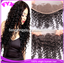 Hot selling factory price har extensions pieces deep wave middle part high quality Swiss lace13*4 inch lace frontal closure