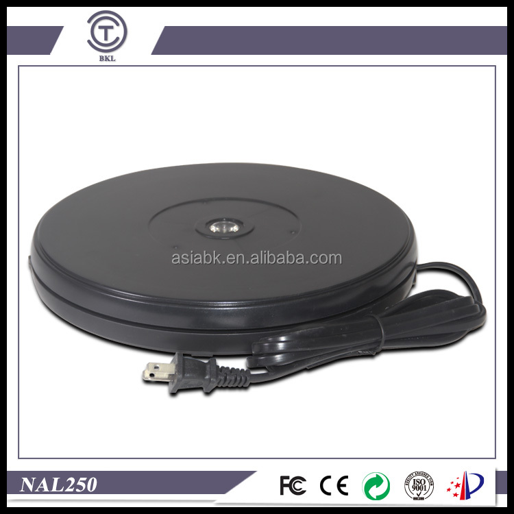 "BKL turntable NAL250 AC110V/220V powered centric LED lighting 10"" plastic exhibition base factory"