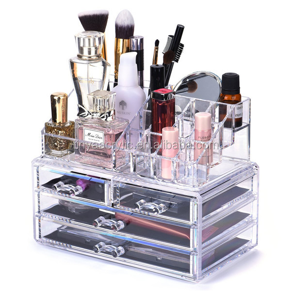 4 Drawer 20 Grid Acrylic Lipstick/Lip Gloss/Lip Balm Display Holder,Transparent Makeup And Brush Organizer Counter Display Stand