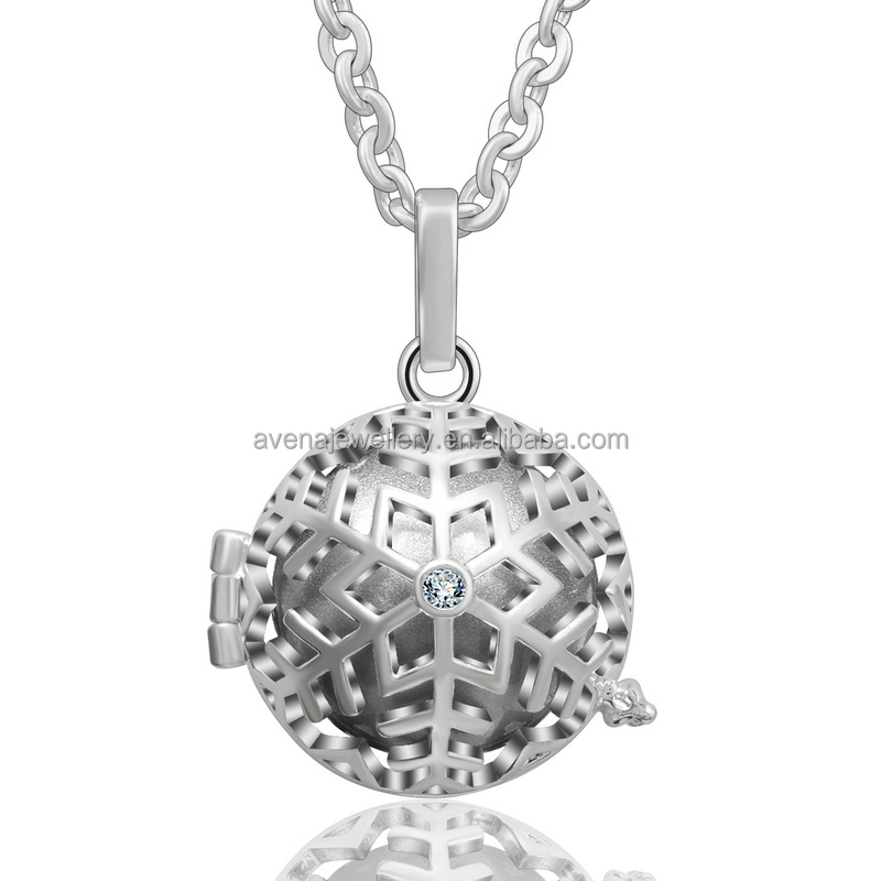K148N Newest Design 925 Sterling Silver Jewelry Gift White Crystal Snow Flake Mexican Bola Harmony Balls Angel Caller