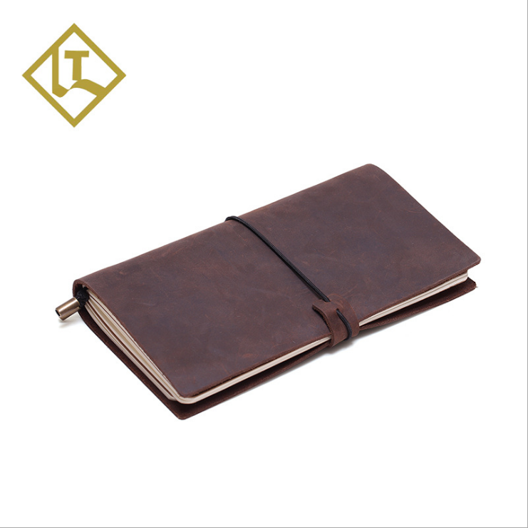 2016 New Arrival Embossed Genuine Leather Executive Notebook Diary Vegetable Tanned Leather Notebook Journals