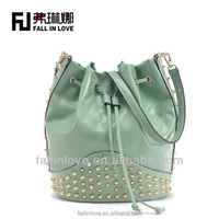 New arrived fashion women punk style shoulder bags rivets design PU handbag,pu fall in love bags