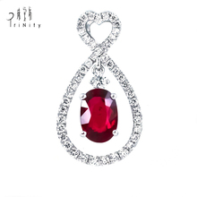 New Design 18k Solid Gold Drop Pendants Gemstone Jewelry Natural Stone Diamond Ruby Pendant Jewelry Set