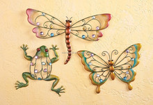Collections Etc Colorful Creatures Metal Wall Art - Set Of 3 Home Decor Butterfly Dragonfly Frog