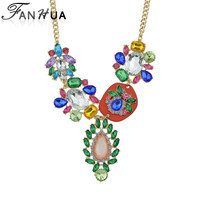 Choker Necklace Fashion Bijoux For Women Flash Deal Luxury Colorful Rhinestone Gold Color Alloy Chain Necklace