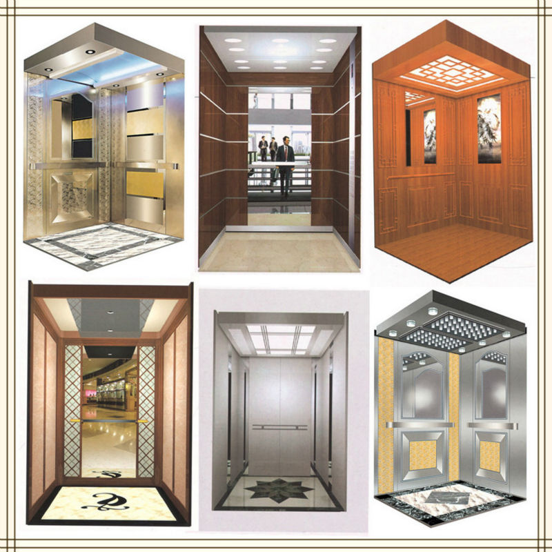luxury decoration carbin nice shining hotel elevator passenger for 6 persons indoor/out door