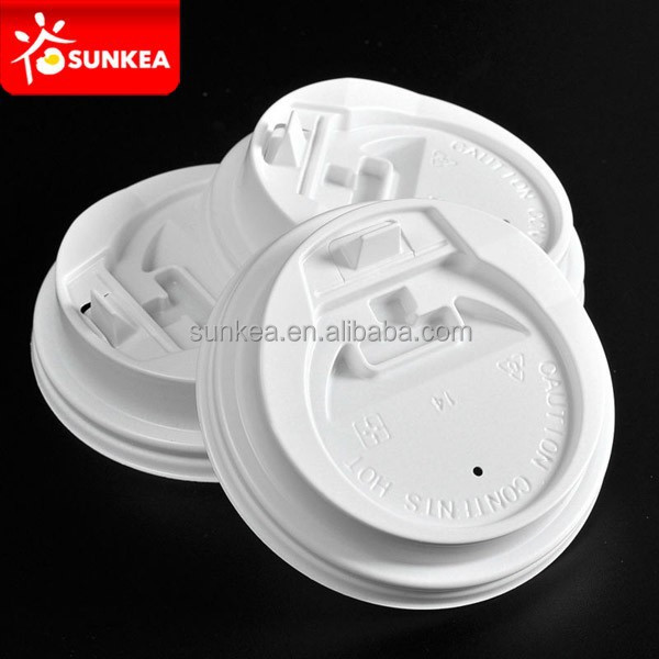 Sell 12oz white coffee cups cover with sip mouth, plastic cup cap