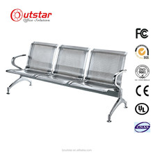 Movable popular stainless steel three seat waiting chair for airport/hospital/public