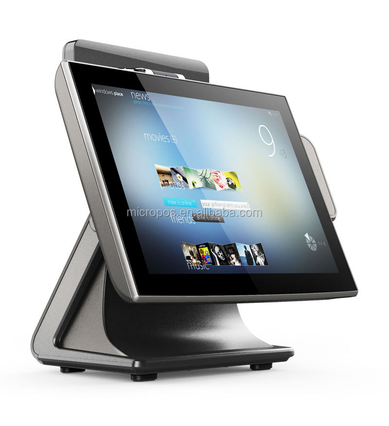 15 inch pos flat capacitive/ 5 wired resistive touch screen all in one pos