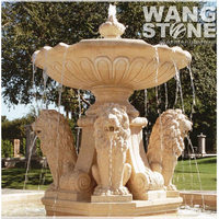 Lion Head Stone Garden Water Fountain
