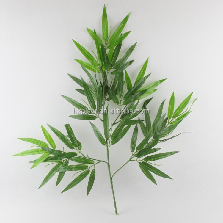 Artificial palm leaf plastic artificial bamboo leaves for Artificial banana leaves decoration
