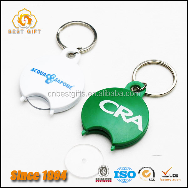 Factory Product Custom Logo Round plastic trolley coin key chain