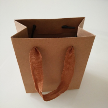 Custom Brown Craft Small Drawstring Mini Paper Gift Bags Pack with Rough Ribbon Handle