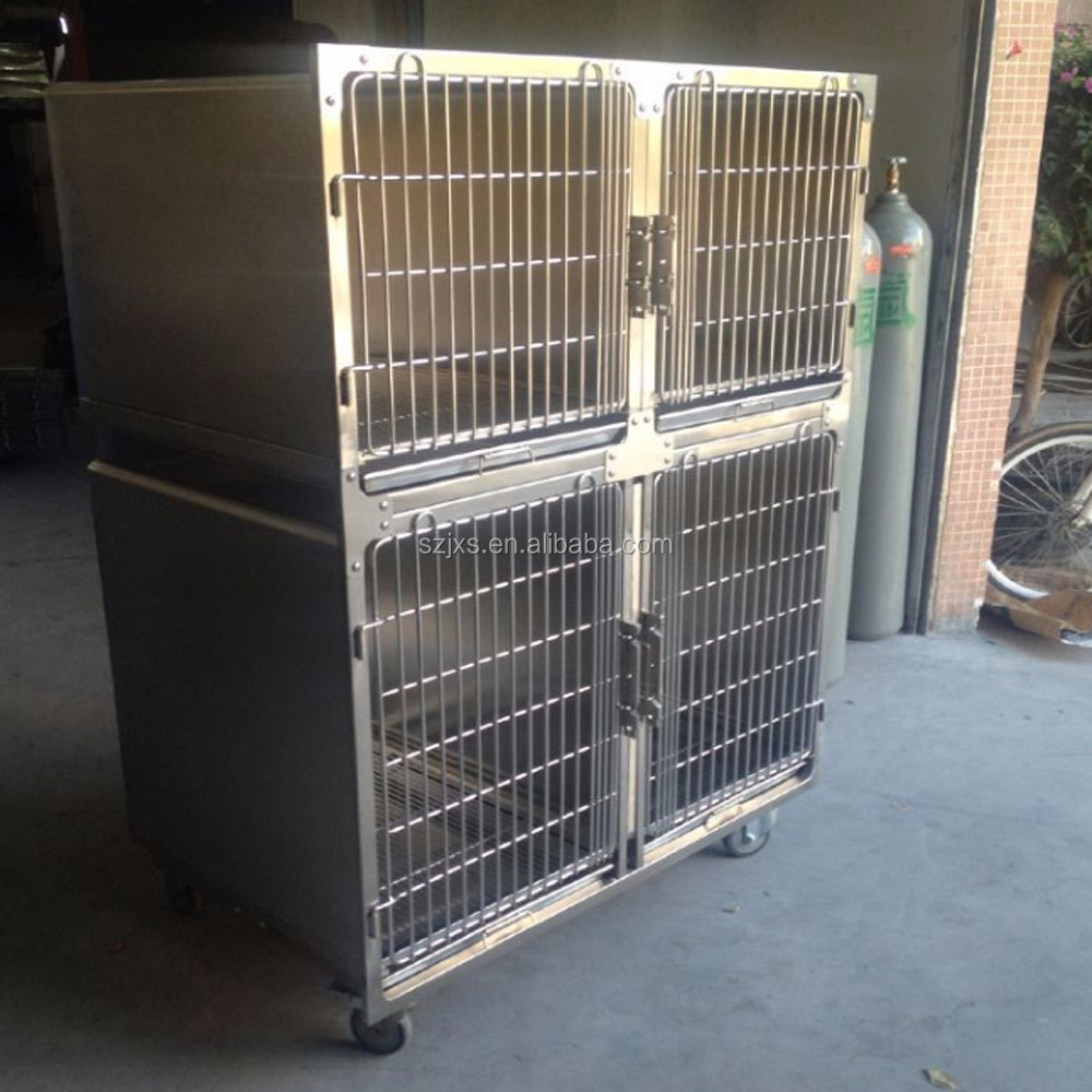 Multifunction stainless steel dog cage with waste tray and separator Pet hospital high quality SUS304 dog cage Double dog cage