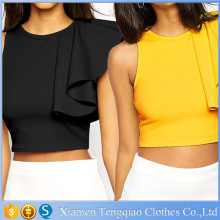 Wholesale Yellow One Shoulder Ruffle Women Tank Top With Back Zipper Closure