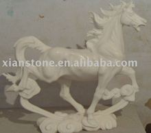 White hand carved stone horse sculpture