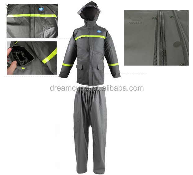 PVC knitting waterproof outdoor suits with reflective tape