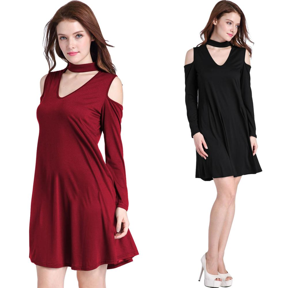 V neck Cold Shoulder Clothing women Choker European Dress