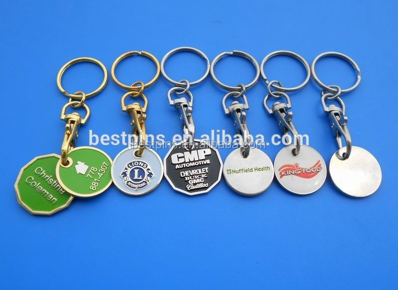 Promotional Custom Supermarket Trolley Token Coin Keychain
