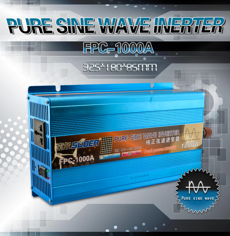 Suoer 12vdc to 220vac 1000W Multiple Safe Protections 100% Pure Sine Wave Output Waveform Inverter