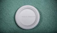 eco-friendly sugarcane biodegradable disposable tableware round plate dish dinnerware