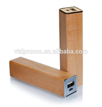Bamboo wooden wholesale phone charger 2600mah power sourse portable charger