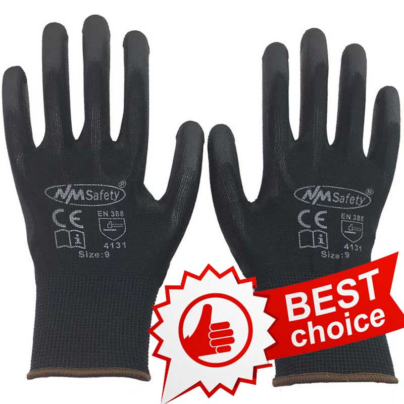 NMSAFETY black pu coated en388 <strong>gloves</strong> with 13G liner top selling work <strong>glove</strong>